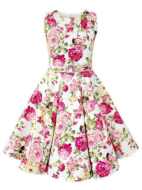 Manches Floral Vintage Print Pin Up Dress - Blanc S