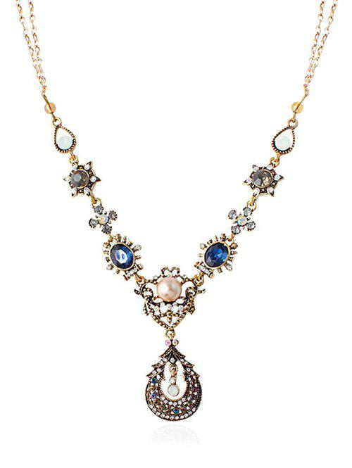 Rhinestone Faux Pearl Water Drop Necklace - GOLDEN