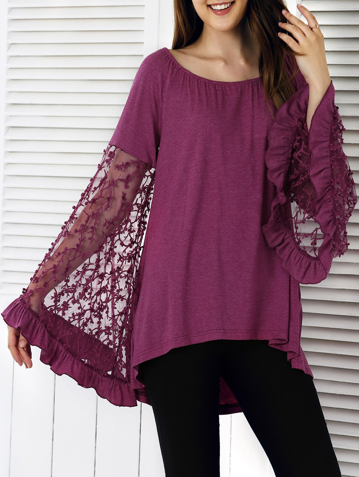 Lace Patchwork Bell Sleeve Asymmetrical Blouse - PURPLE XL