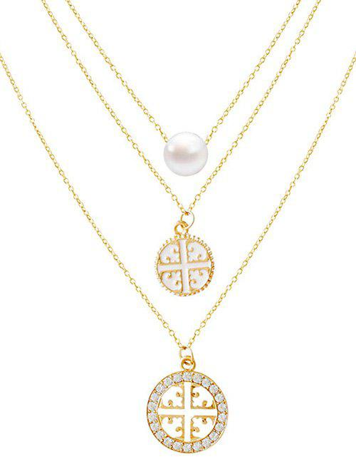 Rhinestone Faux Pearl Cross Round Necklace - GOLDEN