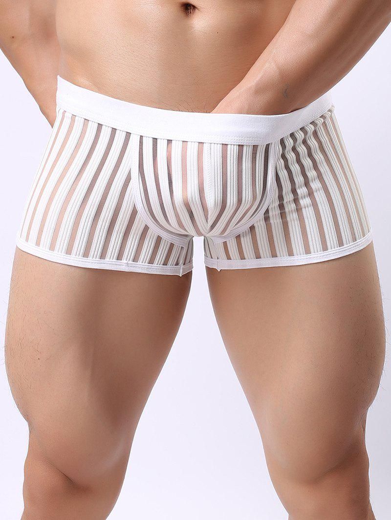 Perspective Stripe Mesh Spliced Boxer Brief - WHITE L