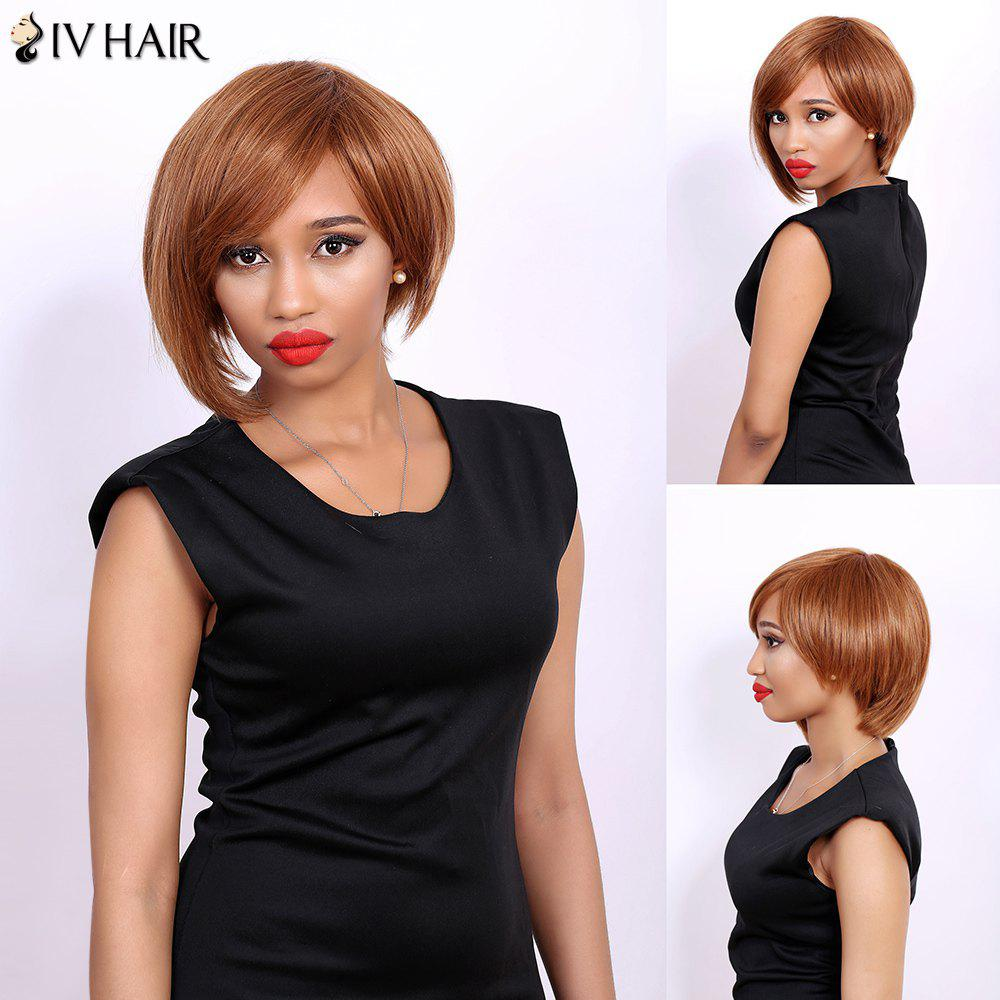 Short Side Bang Straight Asymmetric Bob Real Natural Hair Siv Wig