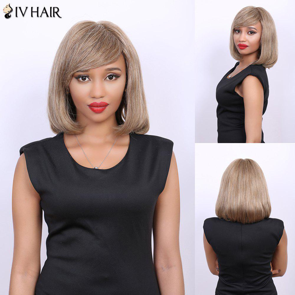 Short Straight Side Bang Bob Real Natural Hair Siv Wig - LIGHT CHOCOLATE