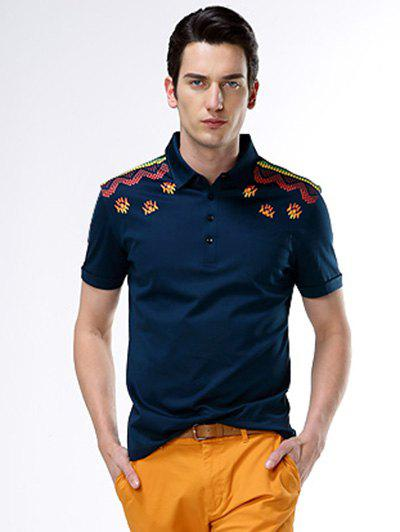 Short Sleeve Turn-Down Collar Abstract Printed Polo Shirt - PURPLISH BLUE 2XL