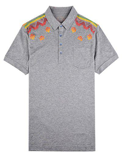 Short Sleeve Turn-Down Collar Abstract Printed Polo Shirt - GRAY 2XL