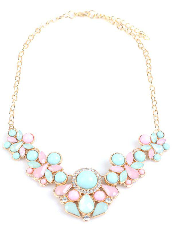 Faux Gem Rhinestone Water Drop Necklace - COLORMIX