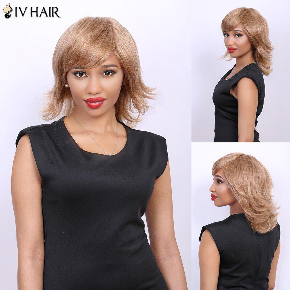 Side Bang Medium Tilt Straight Real Natural Hair Siv Wig - BROWN/BLONDE