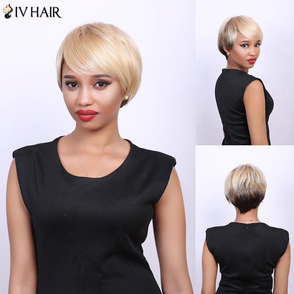 Skilful Multi Short Side Bang Straight Real Natural Hair Siv Wig - COLORMIX