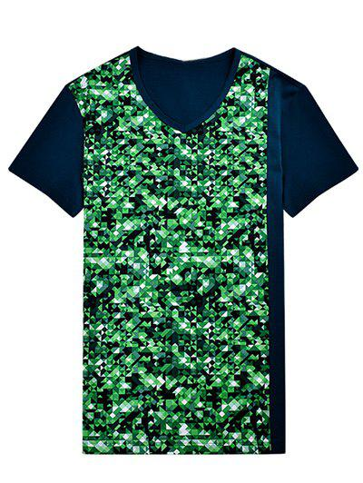 Geometric Print V-Neck Bling T-Shirt - GREEN XL
