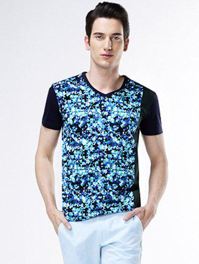 Geometric Print V-Neck Bling T-Shirt - BLUE 3XL