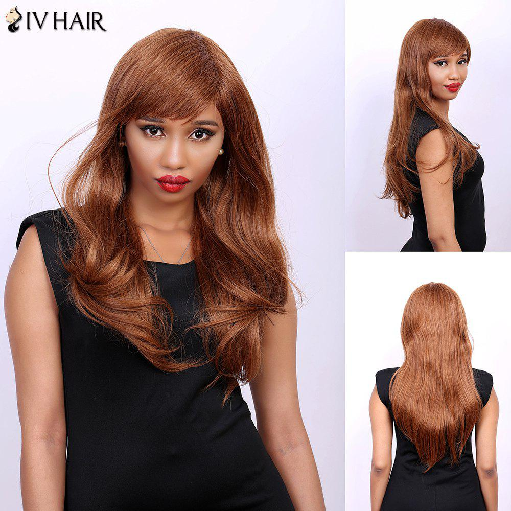 Side Bang Long Slightly Curled Real Natural Hair Siv Wig - AUBURN BROWN