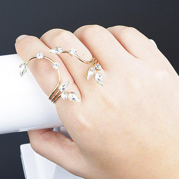 Chic Faux Crystal Floral Layered Fingers Ring -  GOLDEN