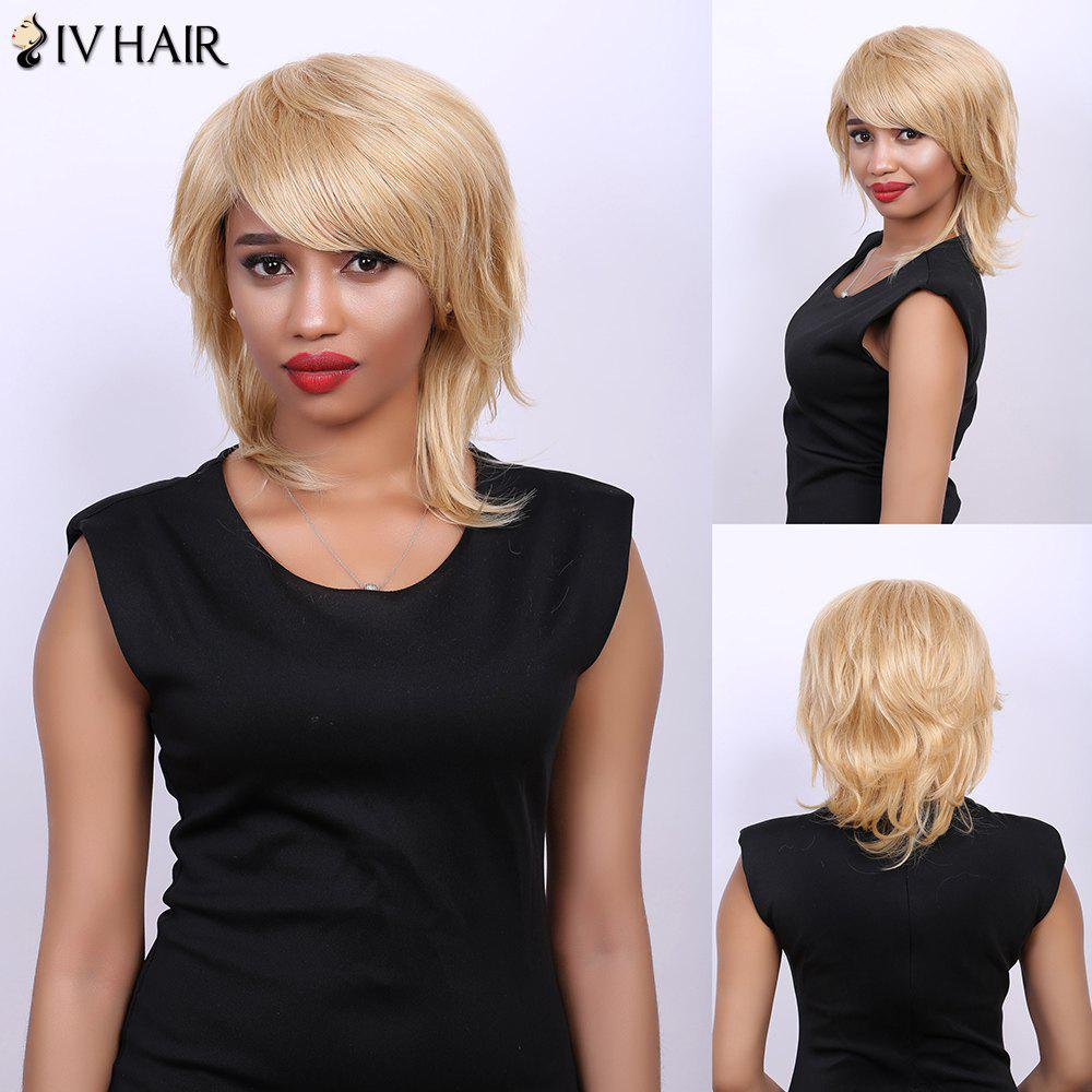 Side Bang Medium Fluffy Tilt Straight Real Natural Hair Siv Wig - GOLDEN BROWN/BLONDE