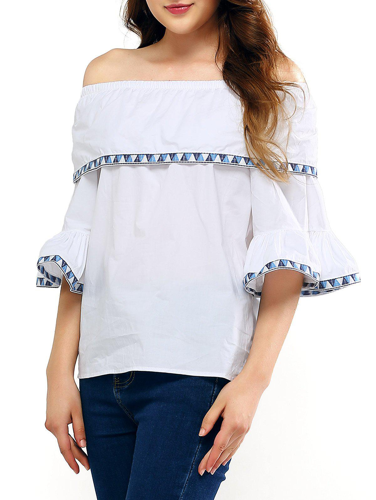 Flare Sleeve Overlay Embroidery Blouse - WHITE ONE SIZE