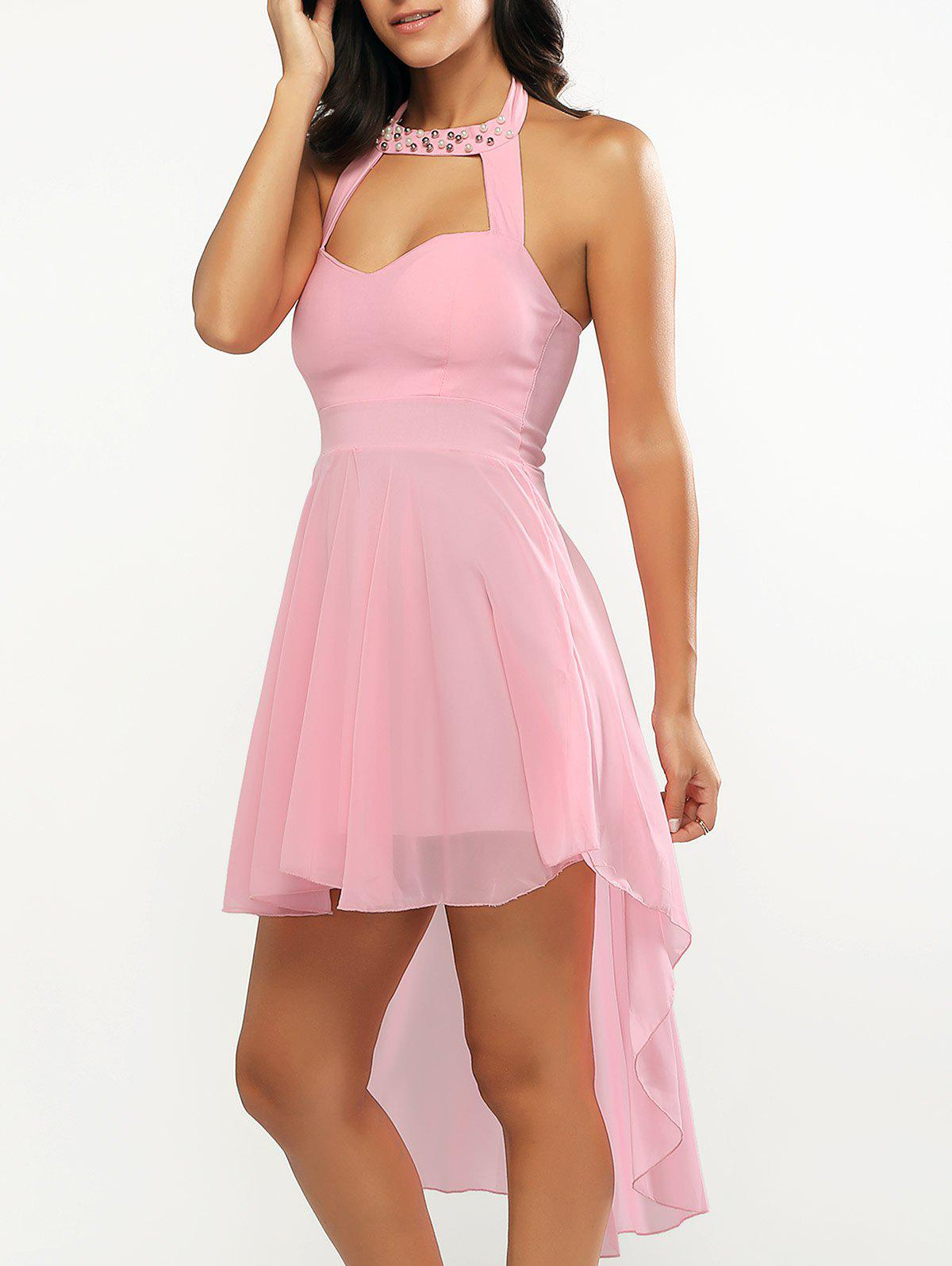 Asymmetrical Cut Out Beading Backless Dress - PINK ONE SIZE