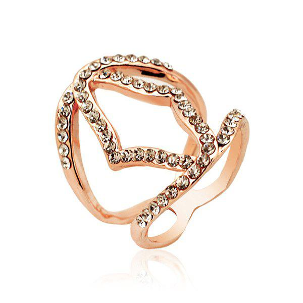 Cut Out Geometric Filigree Rhinestone Ring - ROSE GOLD