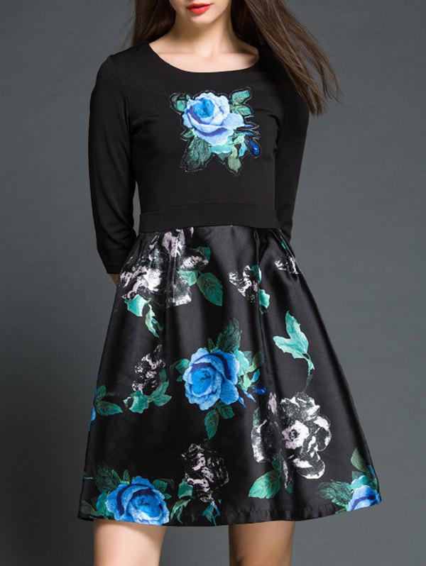 Rose Floral Print Fake Twinset A Line Dress - 2XL BLACK