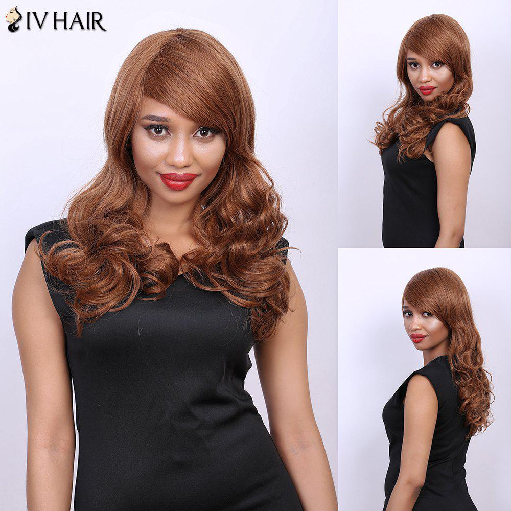 Wavy Long Side Bang Real Natural Hair Siv Wig - AUBURN BROWN