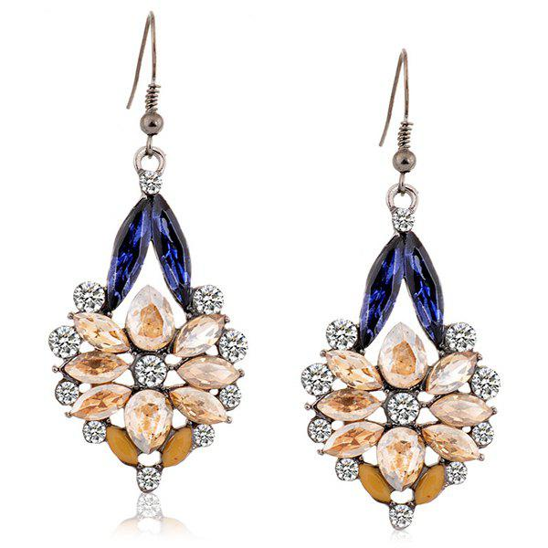 Hollow Out Artificial Crystal Rhinestone Floral Drop Earrings