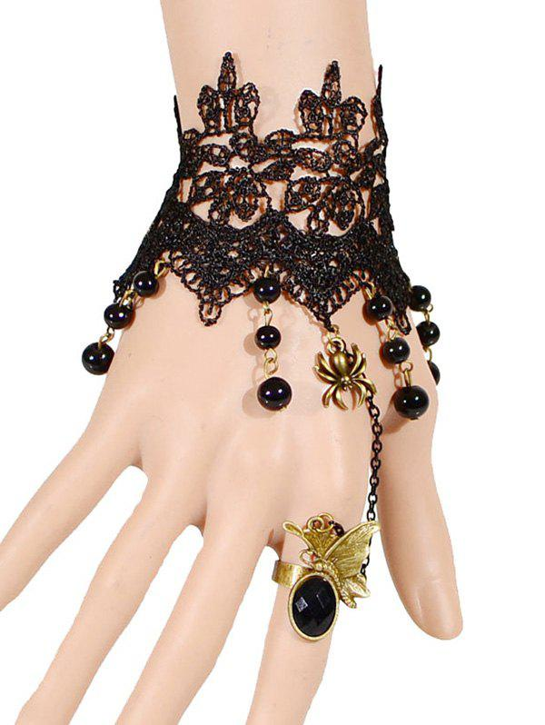 Spider Butterfly Beads Bracelet With Ring - BLACK