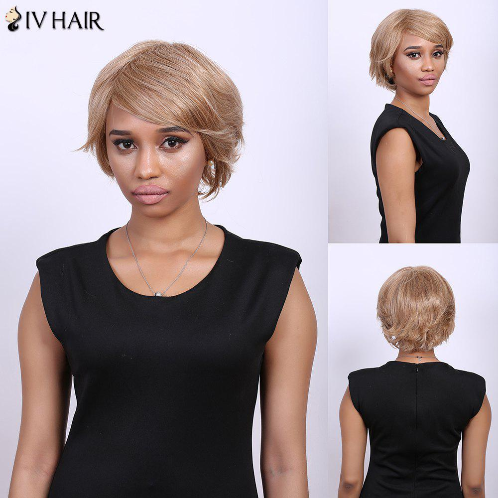 Side Bang Short Fluffy Tilt Straight Real Natural Hair Siv Wig - BROWN/BLONDE