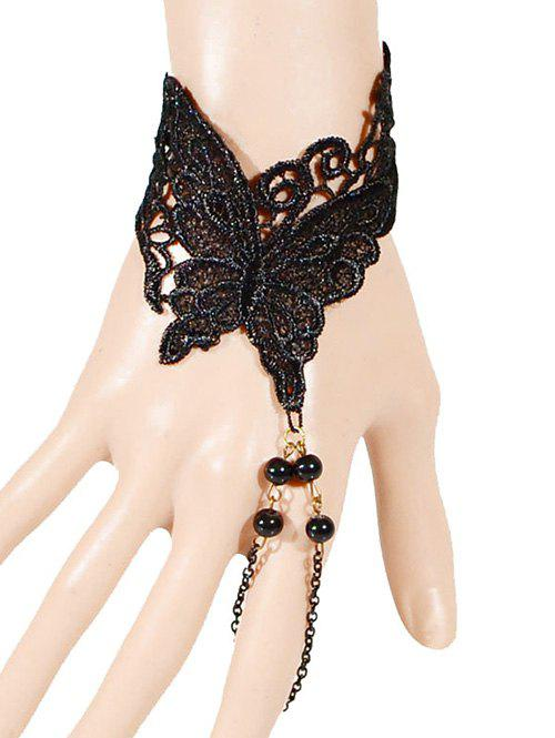 Woven Butterfly Beads Bracelet With Ring - BLACK