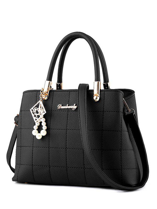 Metal PU Leather Plaid Pattern Tote Bag - BLACK