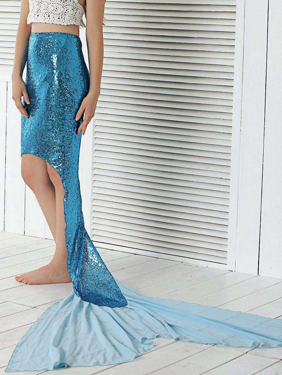 Sequined High Low Hem Fish Tail Skirt - LAKE BLUE XL
