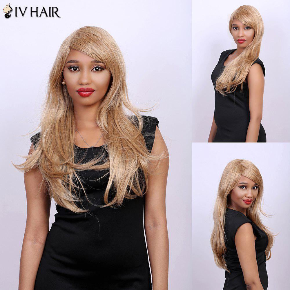 Slightly Curled Side Bang Long Real Natural Hair Siv Wig - BROWN/BLONDE