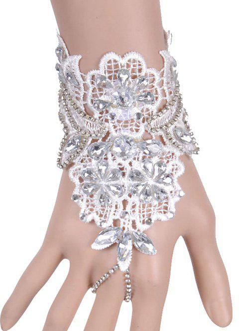 Faux Crystal Floral Bracelet With Ring - WHITE