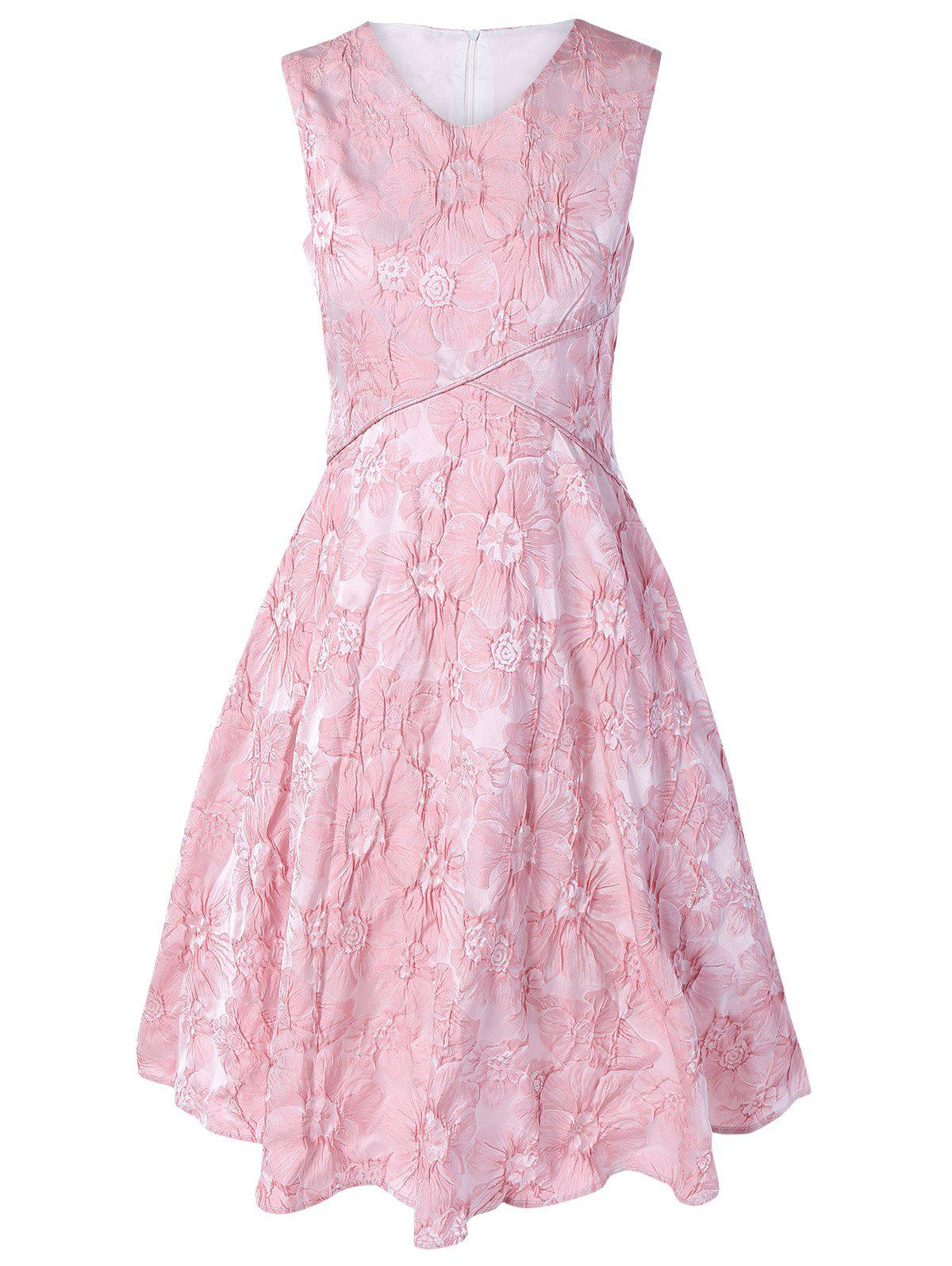 Sleeveless Floral Jacquard Dress - PINK XL