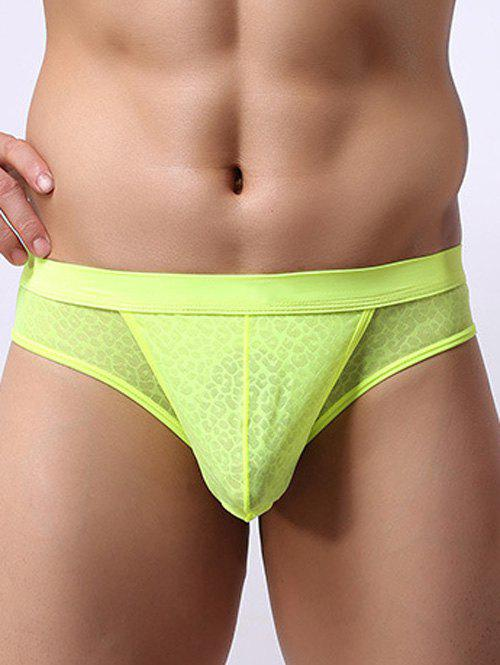 Splicing Design Leopard Print U Convex Pouch Band Briefs - LEMON YELLOW 2XL