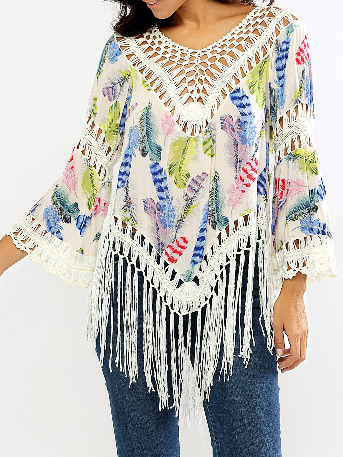 Openwork Feather Print Fringed Blouse - WHITE ONE SIZE