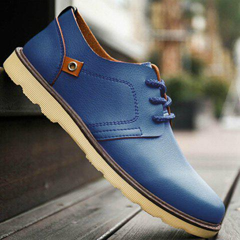 Stylish Solid Colour and Tie Up Design Men's Casual Shoes - PEACOCK BLUE 44