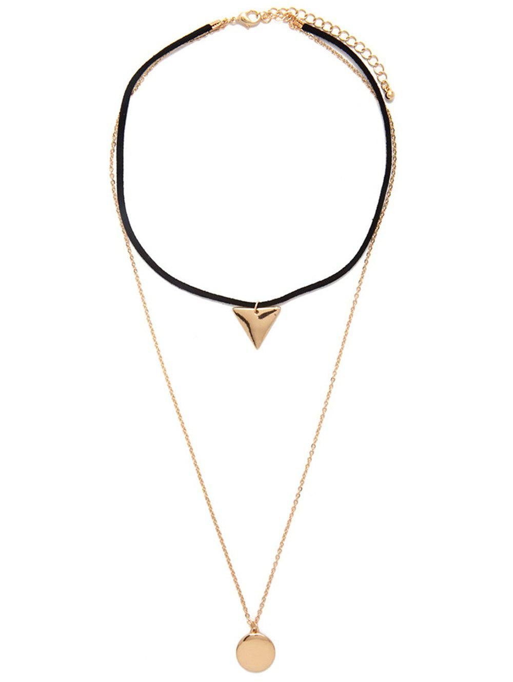 Multilayered Geometric Charm Choker Necklace -  GOLDEN