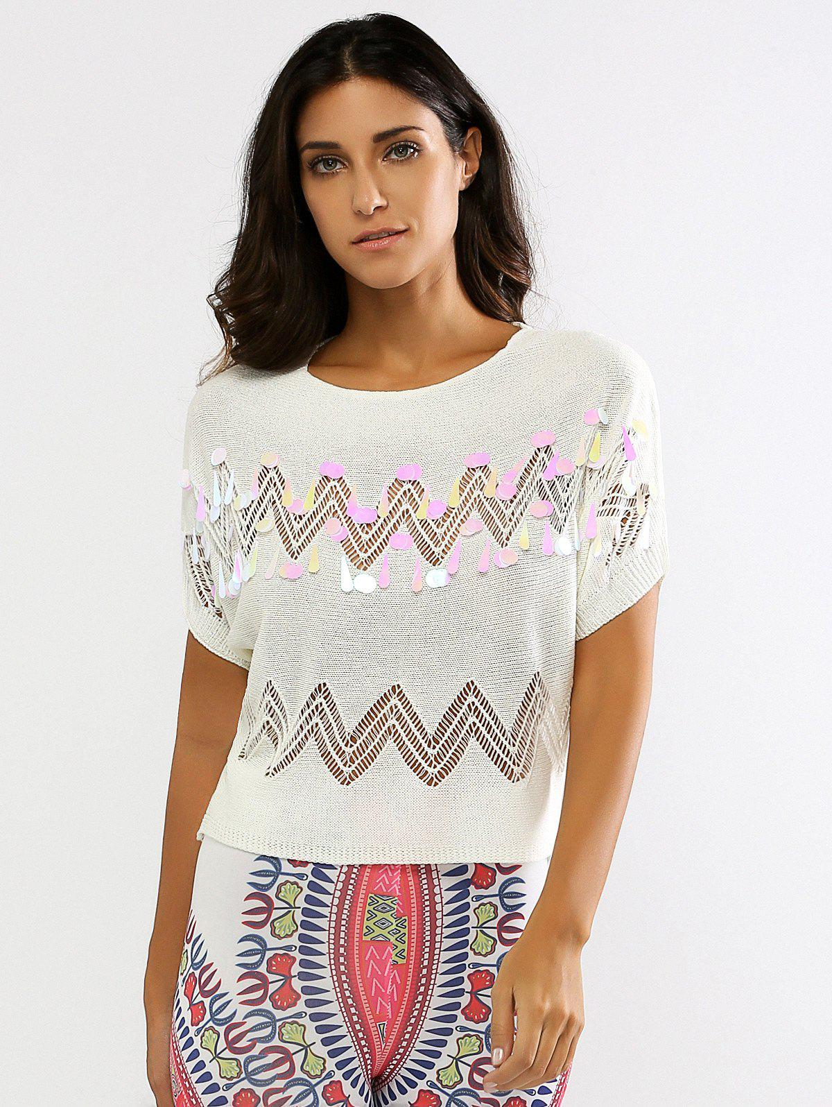 Knitted Sequined Openwork Top - OFF WHITE ONE SIZE