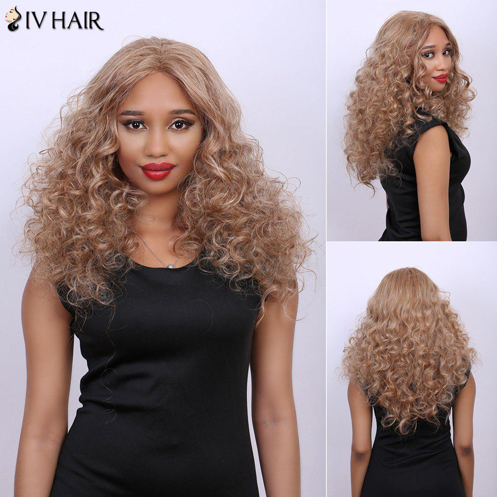 Curly Long Fluffy Centre Parting Real Natural Hair Siv Wig - BROWN/BLONDE
