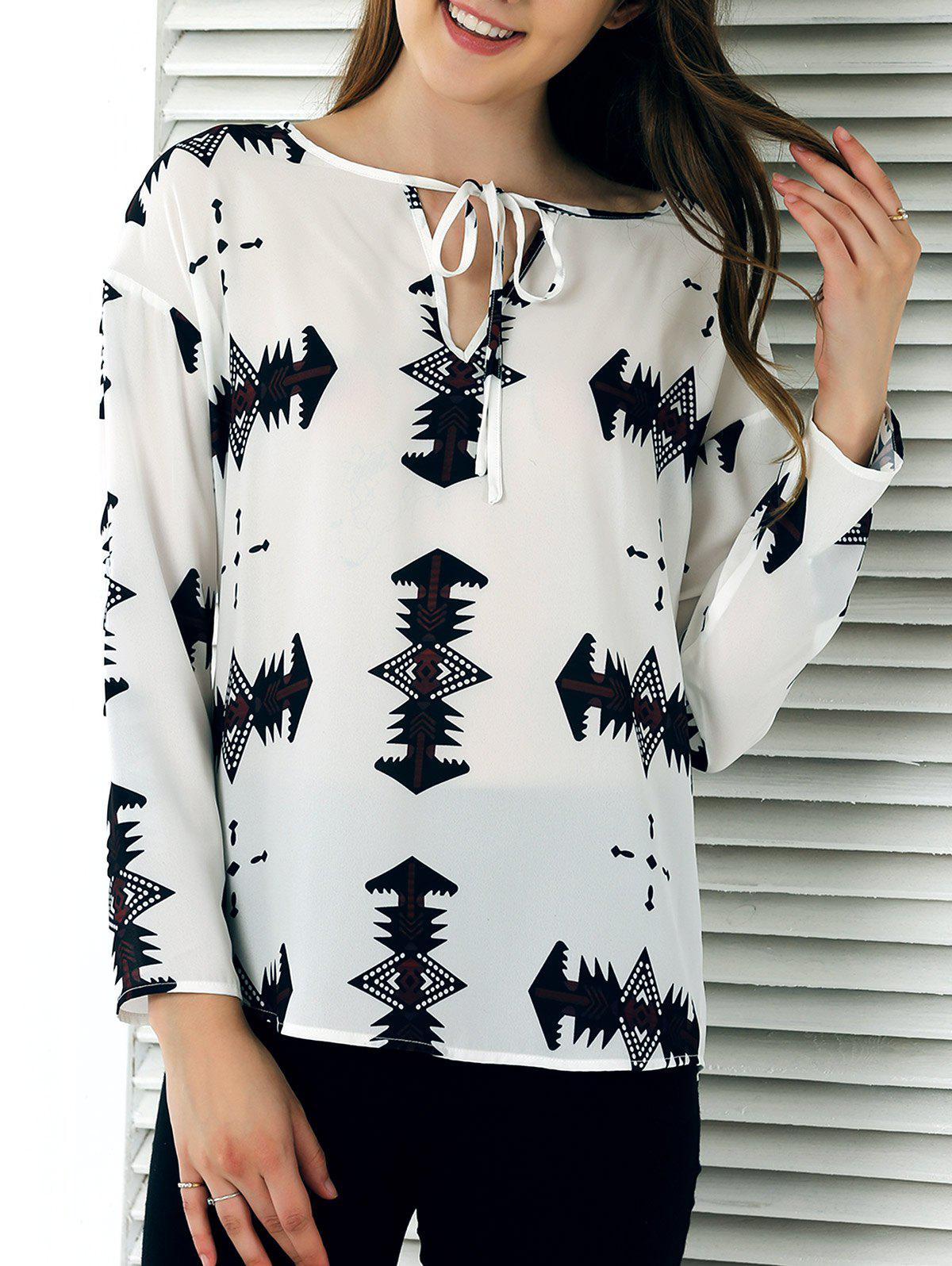 Cut Out Tie-Front Abstract Print Blouse - WHITE XL