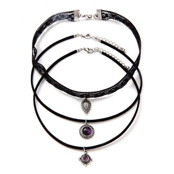 Gothic Faux Amethyst Medallion Teardrop Choker Necklace Set