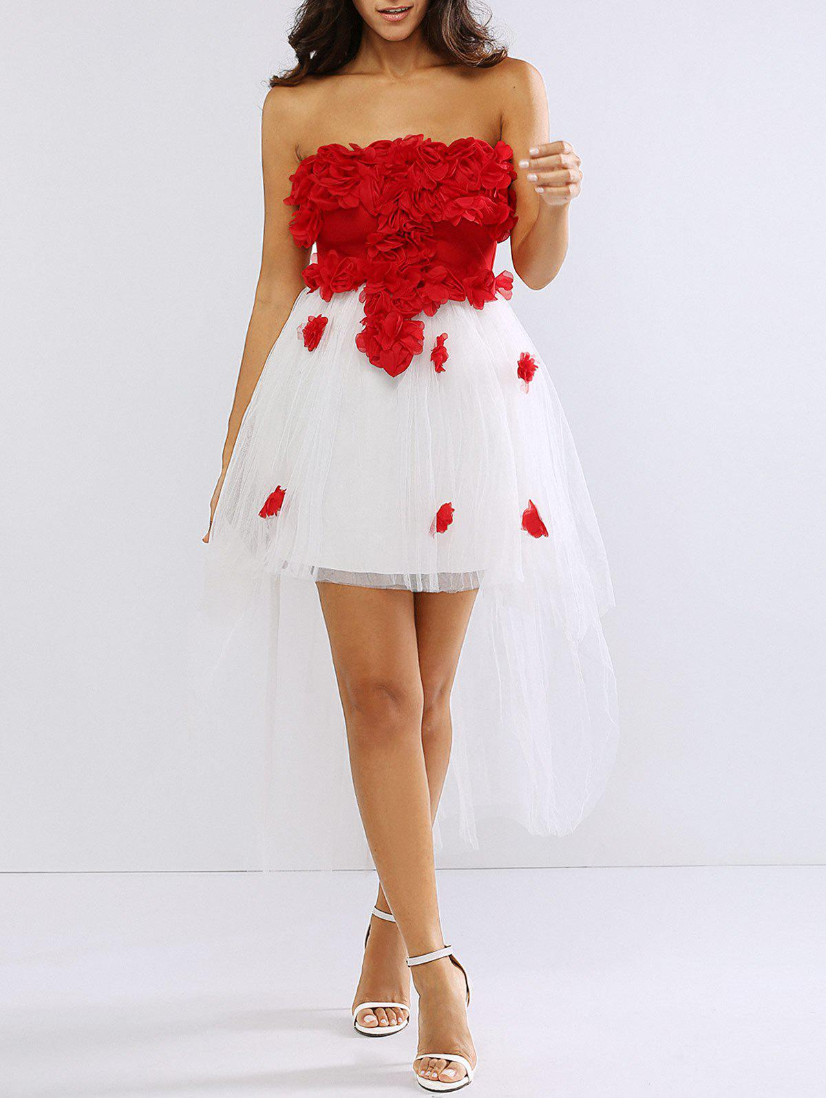 Asymmetrical Floral Blossom Mesh Spliced Party Dress - RED ONE SIZE