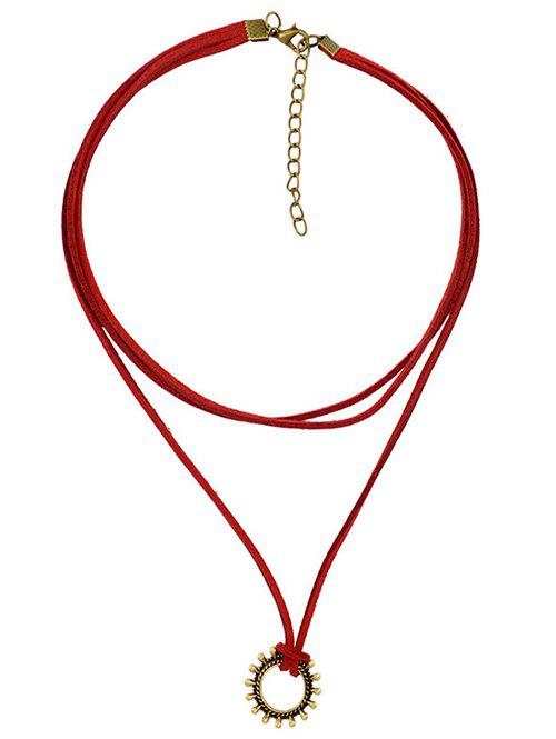 Retro Etched Geometric Choker Necklace - WINE RED