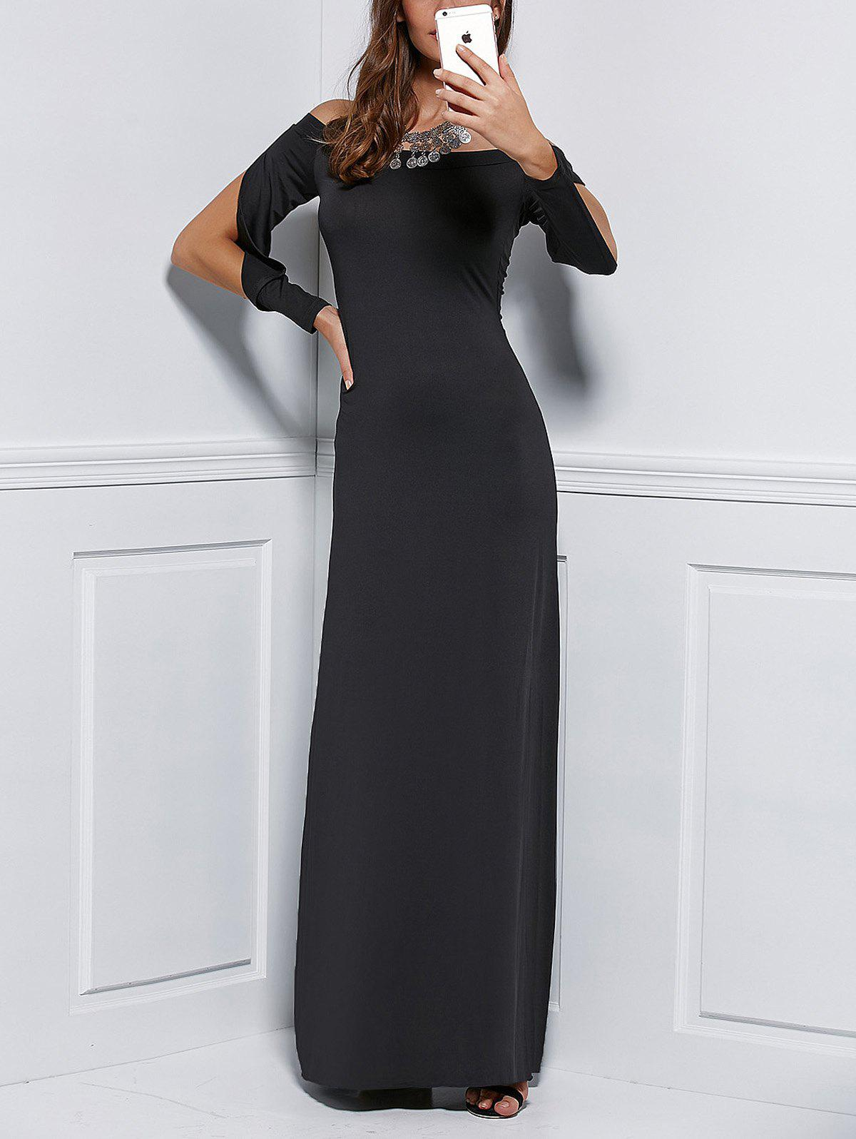 Off The Shoulder Hollow Out Maxi Dress - BLACK S