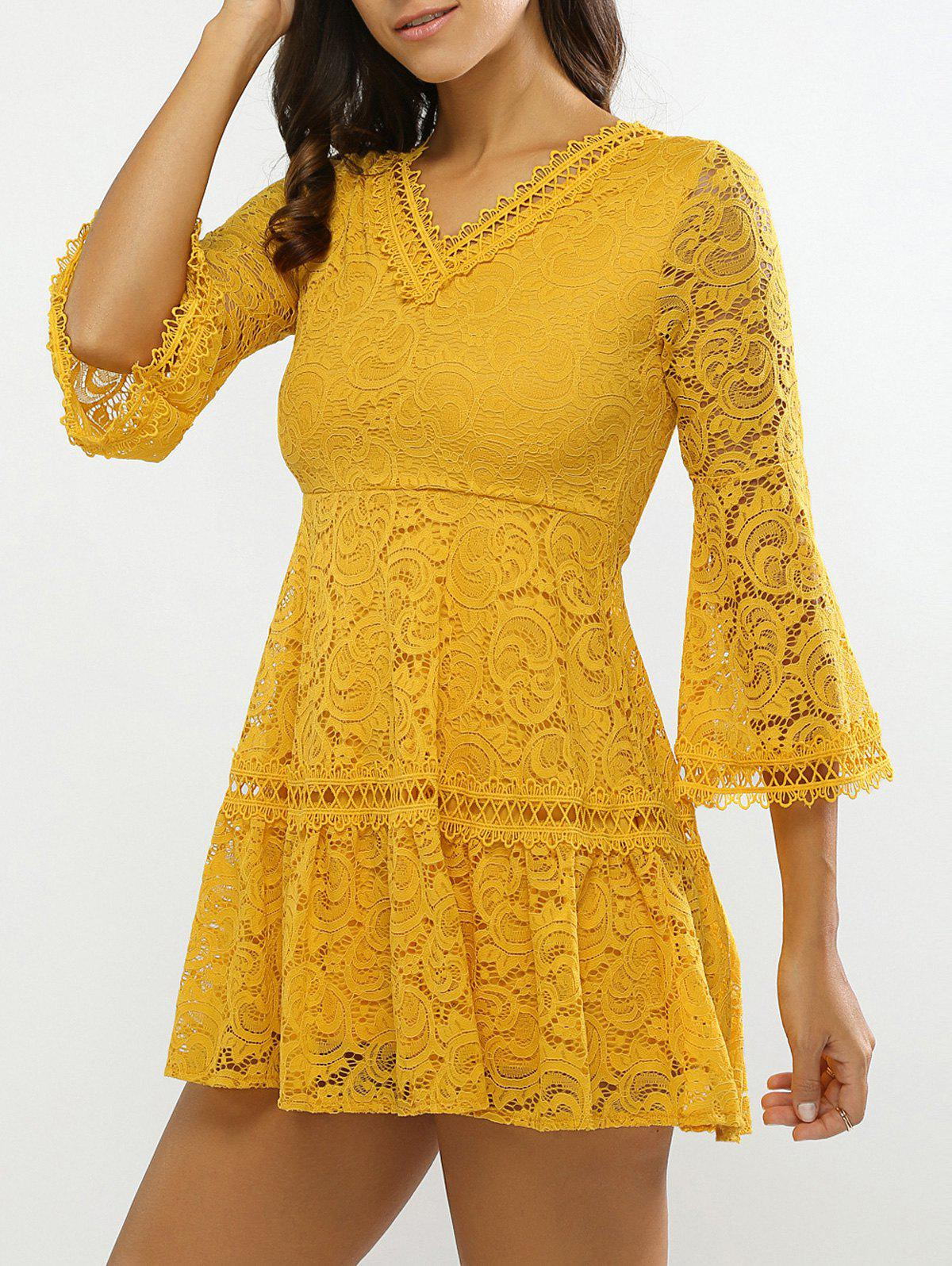 Bell Sleeves Guipure Openwork Lace Dress - YELLOW ONE SIZE