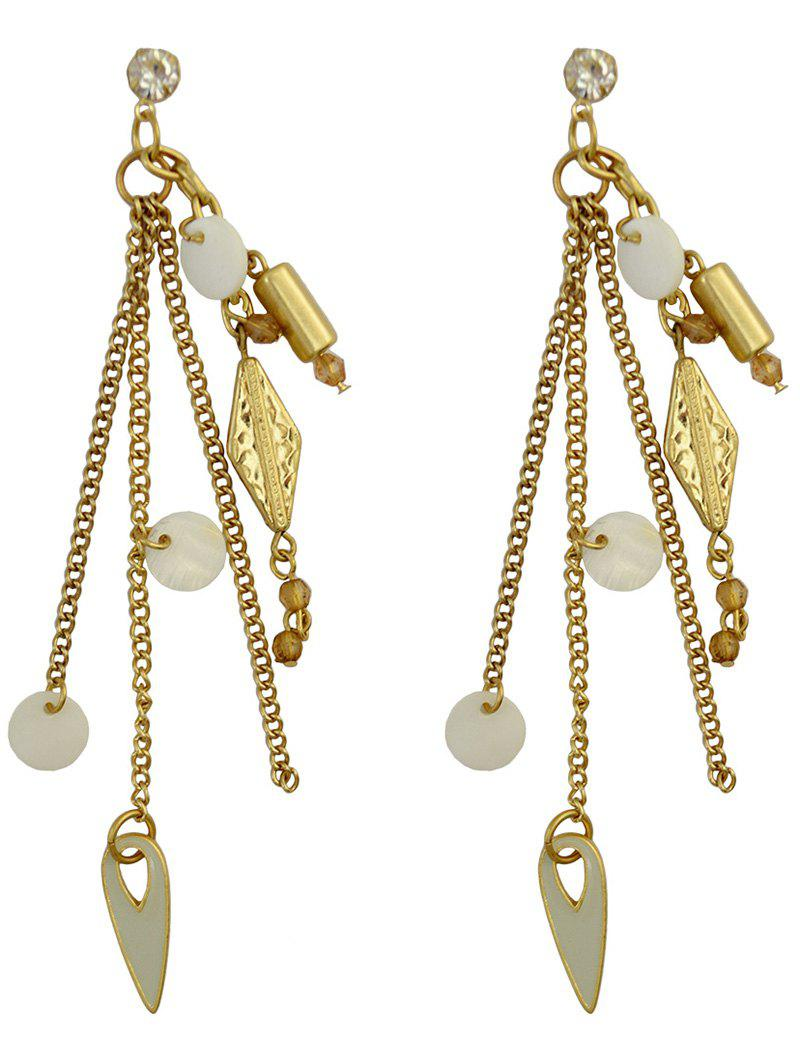 Pair of Statement Cut Out Geometric Tassel Earrings - GOLDEN
