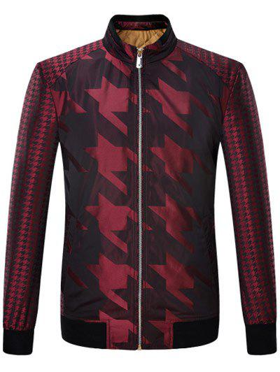 Zip Up Houndstooth Pattern Long Sleeve Padded Jacket - WINE RED S