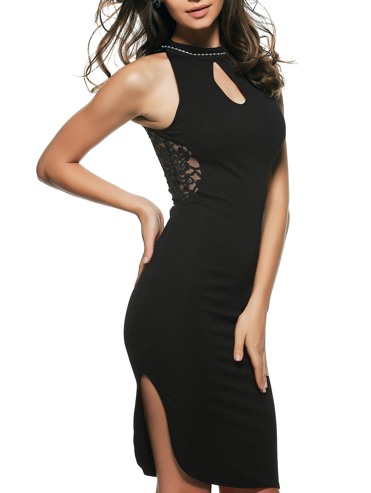 Laciness Backless Club Dress - BLACK XL