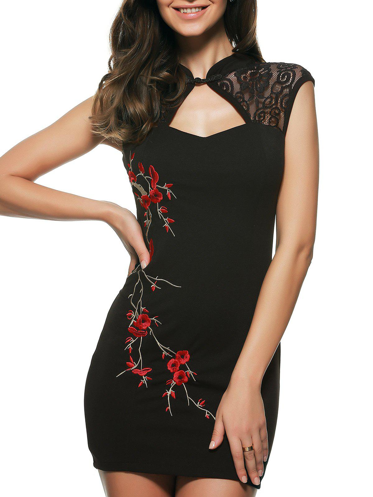 Embroidered Cut Out Cheongsam Dress - BLACK ONE SIZE(FIT SIZE XS TO M)