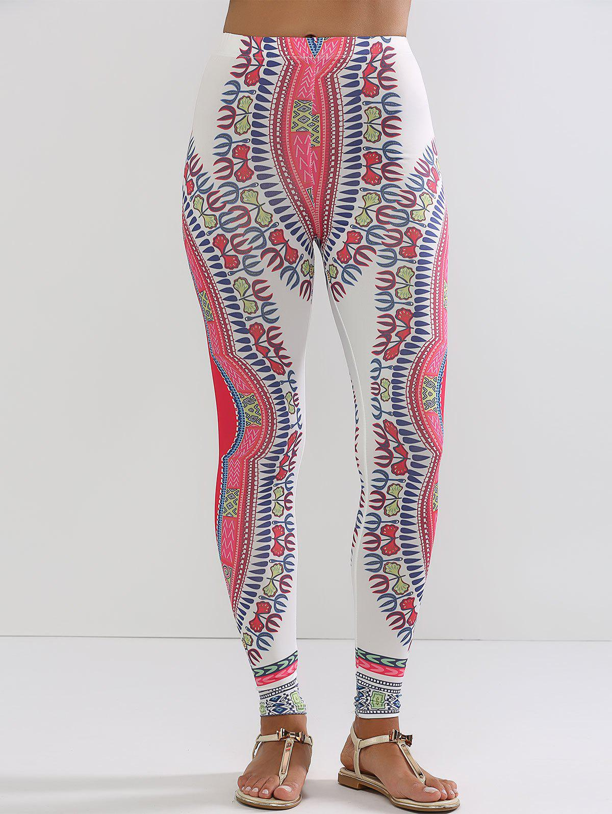 Ethnic Print Slimming Leggings - WHITE L