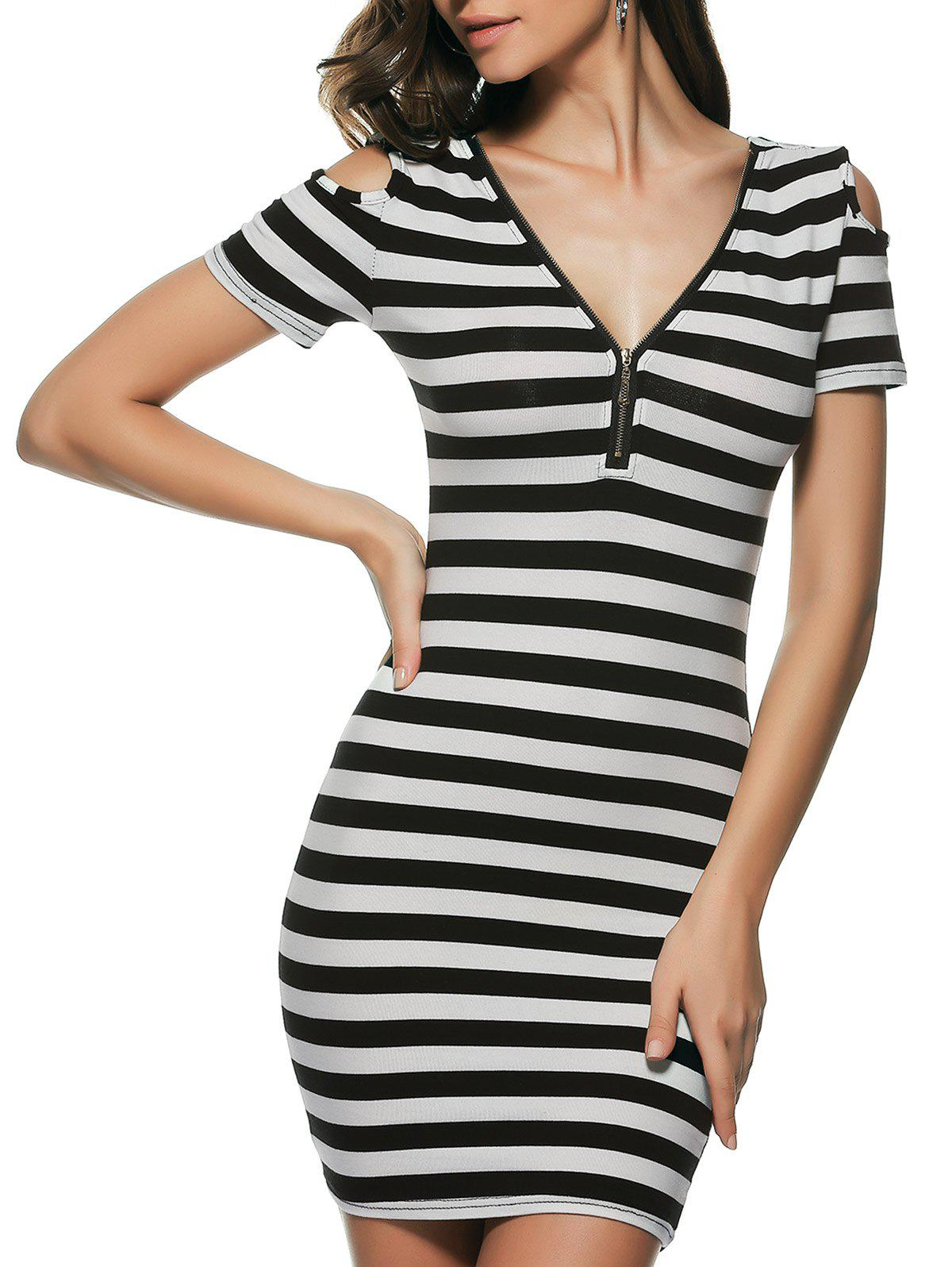 Striped Cold Shoulder Bodycon Dress - WHITE/BLACK ONE SIZE(FIT SIZE XS TO M)
