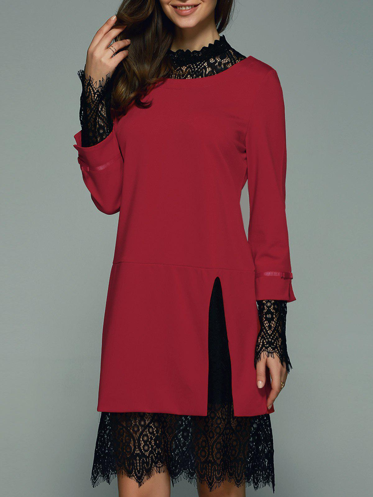 Trendy Lace Splicing Hollow Out Women's Dress - RED 2XL